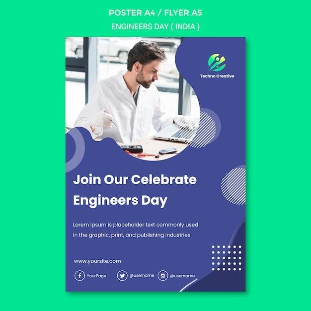 Szablon Plakatu Na Obchody Dnia Inżyniera Darmowe Psd