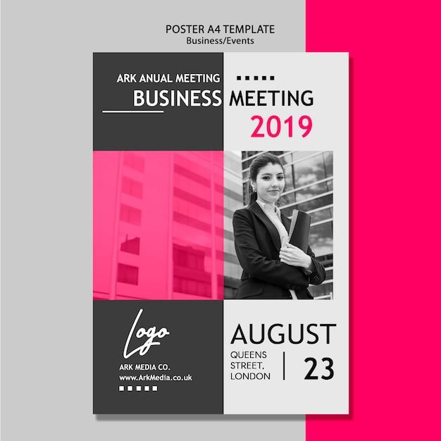 Szablon plakatu na spotkanie biznesowe Darmowe Psd
