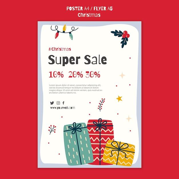 Szablon Plakatu Na świąteczne Zakupy Darmowe Psd