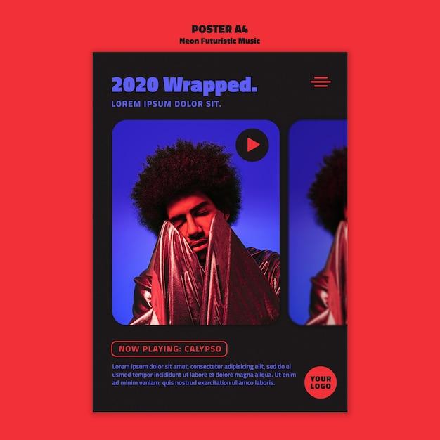 Szablon Plakatu Neonowej Muzyki Futurystycznej Darmowe Psd