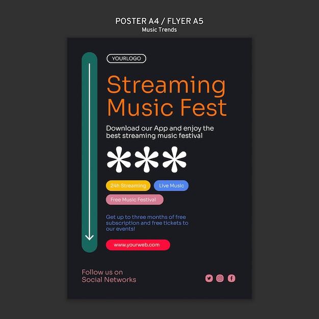 Szablon Plakatu Platformy Strumieniowego Przesyłania Muzyki Darmowe Psd