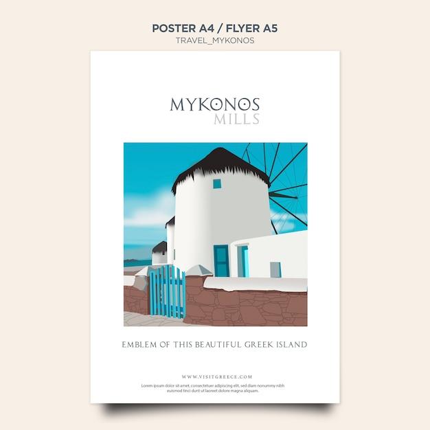 Szablon Plakatu Podróży Mykonos Darmowe Psd