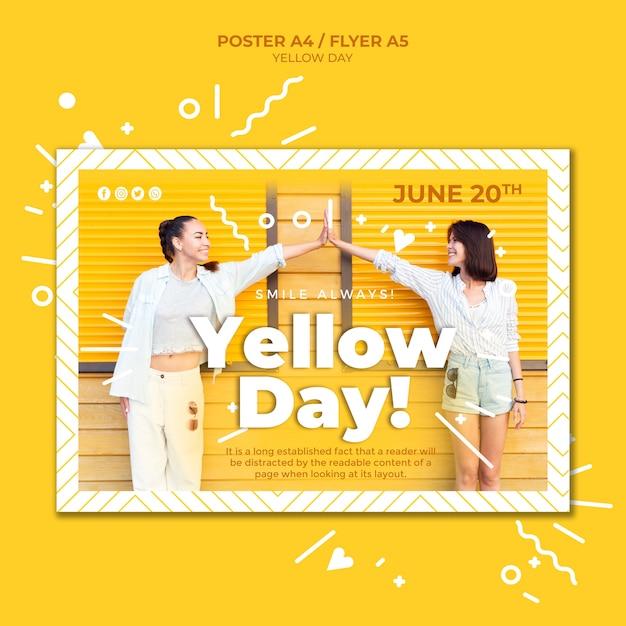 Szablon Plakatu Poziomego żółty Dzień Ze Zdjęciem Darmowe Psd