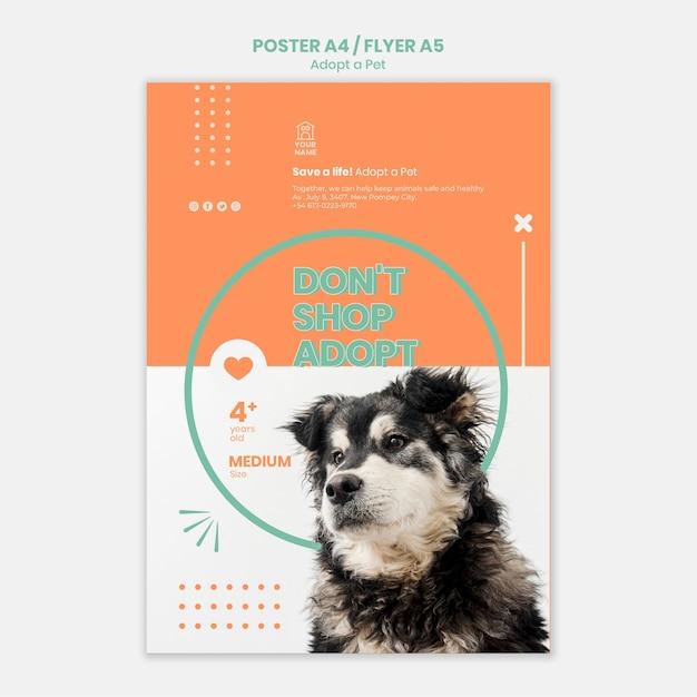 Szablon Plakatu Przyjąć Koncepcję Zwierzaka Darmowe Psd