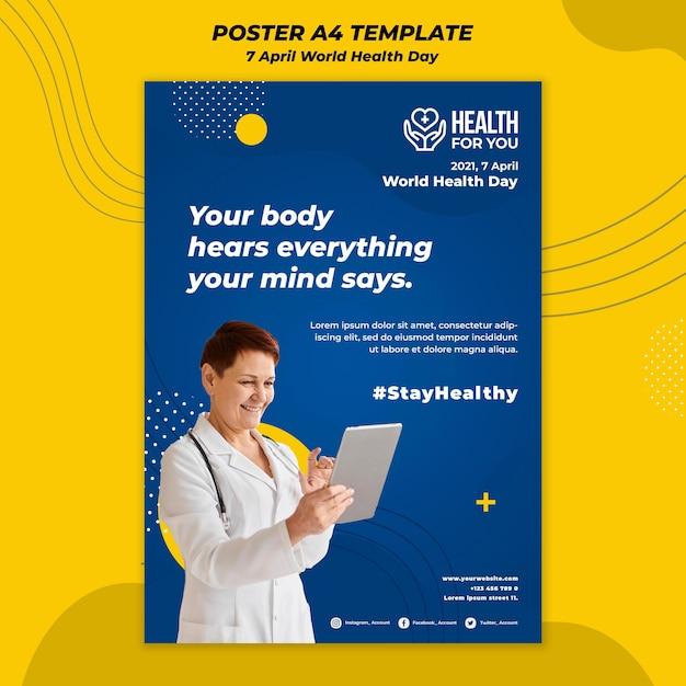 Szablon Plakatu światowego Dnia Zdrowia Darmowe Psd