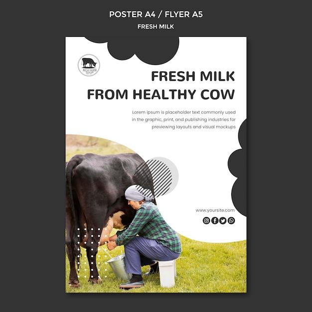 Szablon Plakatu świeżego Mleka Ze Zdjęciem Darmowe Psd