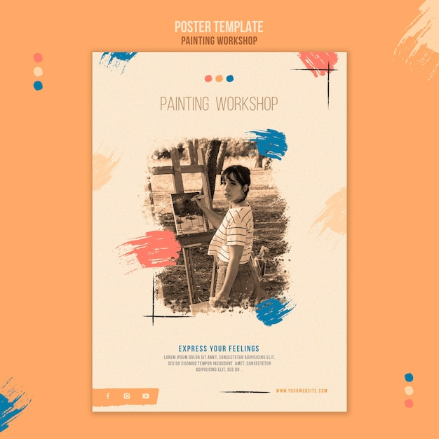 Szablon Plakatu Warsztatowego Malowania Ze Zdjęciem Darmowe Psd