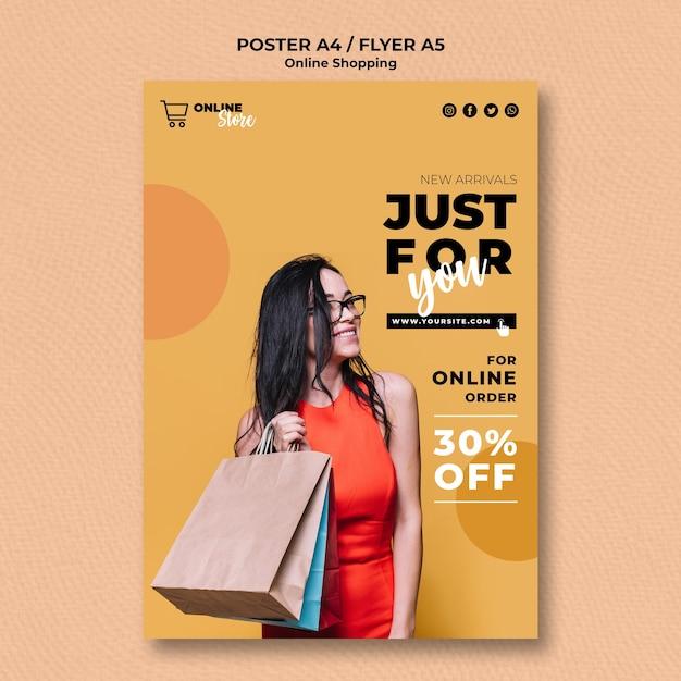 Szablon Plakatu Z Internetową Wyprzedażą Mody Darmowe Psd