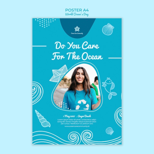Szablon Plakatu Z Tematem światowy Dzień Oceanu Darmowe Psd