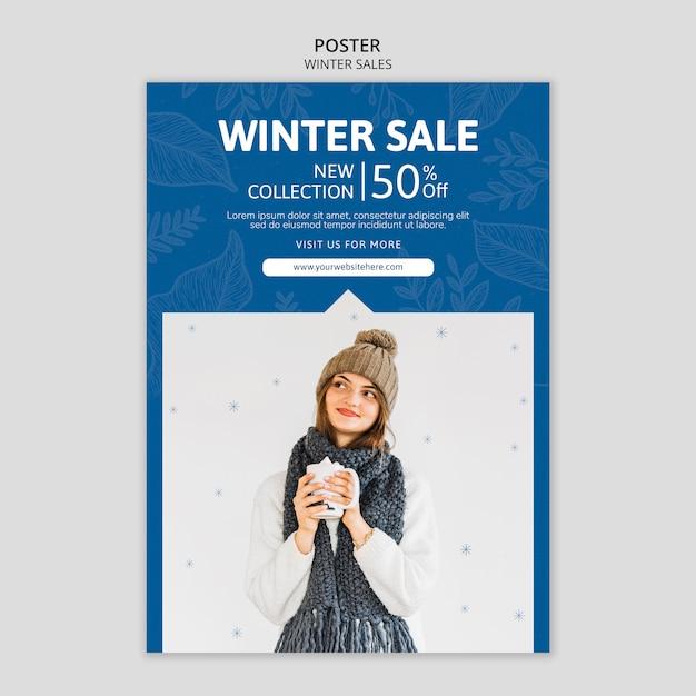 Szablon plakatu z wyprzedażami zimowymi Darmowe Psd