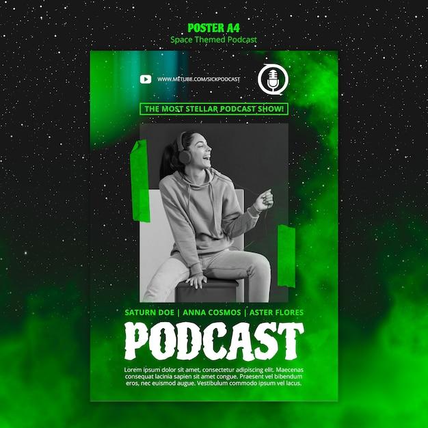 Szablon Podcastu O Tematyce Kosmicznej Na Plakat Darmowe Psd