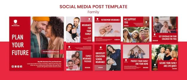 Szablon Post Mediów Społecznościowych Z Rodziną Darmowe Psd