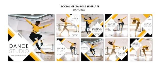Szablon Post Mediów Społecznościowych Z Studio Tańca Premium Psd