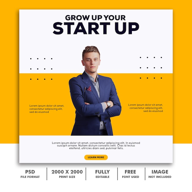 Szablon Post Square Banner For Instagram, Business Corporate Yellow Clean Simple Elegant Modern Premium Psd