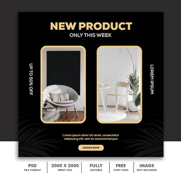 Szablon Post Square Banner Na Instagram, Architektura Dekoracji Mebli Zielony Czarny Złoty Elegancki Premium Psd
