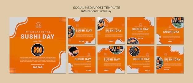 Szablon Postów Mediów Społecznościowych Międzynarodowy Dzień Sushi Darmowe Psd