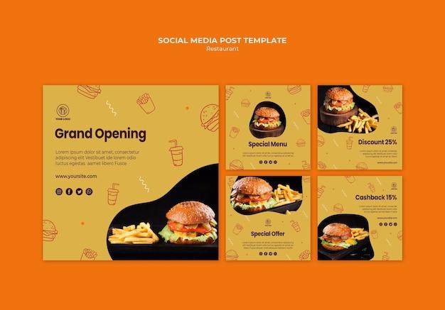 Szablon Postów W Mediach Społecznościowych Burger Restaurant Darmowe Psd