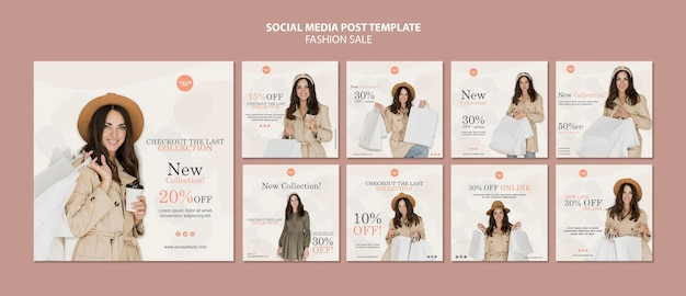 Szablon Postów W Mediach Społecznościowych Sprzedaży Mody Darmowe Psd