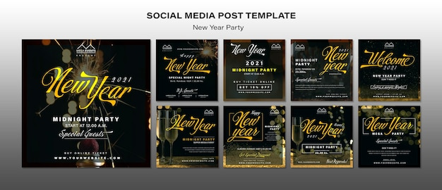 Szablon Postów W Mediach Społecznościowych Z Okazji Nowego Roku Darmowe Psd