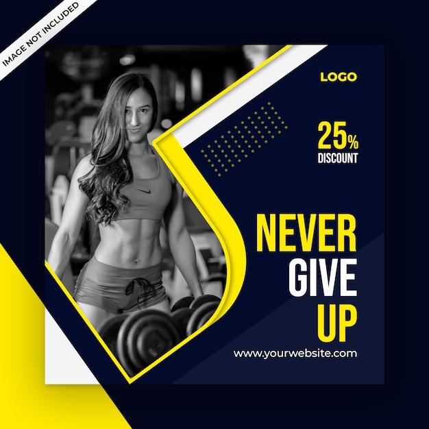 Szablon postu mediów społecznościowych fitness Premium Psd