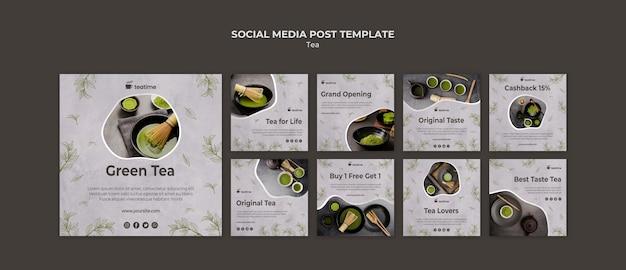 Szablon Postu Mediów Społecznościowych Matcha Herbata Darmowe Psd