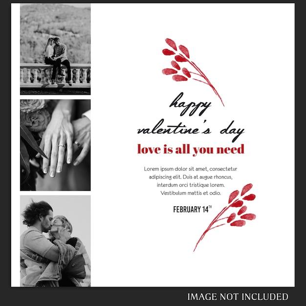 Szablon Postu Na Walentynki I Szablon Transparentu Na Walentynki Premium Psd
