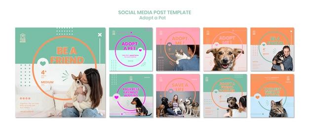 Szablon Postu W Mediach Społecznościowych Adoptuje Zwierzaka Darmowe Psd