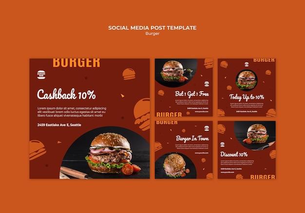 Szablon Postu W Mediach Społecznościowych Burger Darmowe Psd