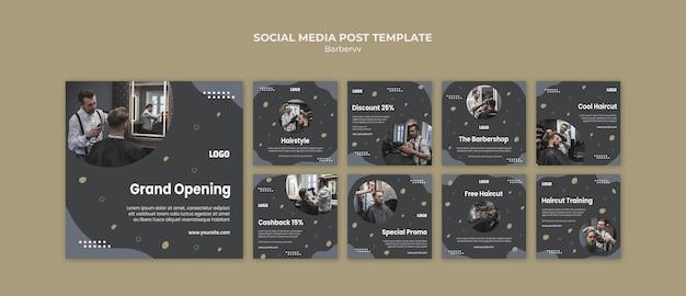 Szablon Postu W Mediach Społecznościowych Dla Fryzjera Premium Psd