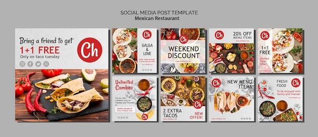 Szablon postu w mediach społecznościowych dla meksykańskiej restauracji Darmowe Psd