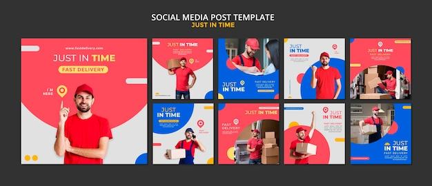 Szablon Postu W Mediach Społecznościowych Firmy Kurierskiej Premium Psd