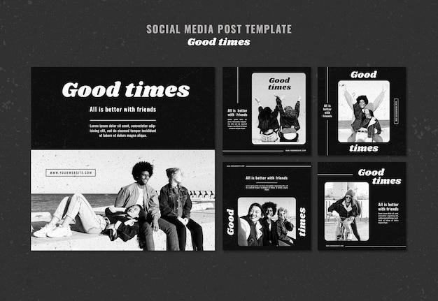 Szablon Postu W Mediach Społecznościowych Good Times Premium Psd