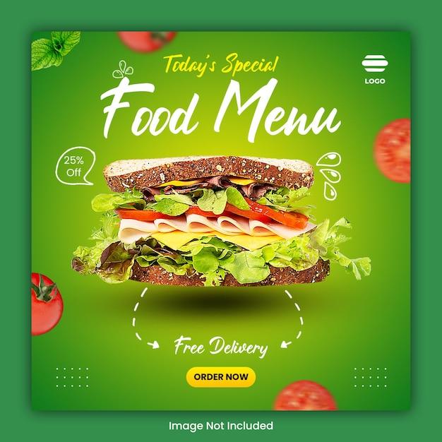 Szablon Postu W Mediach Społecznościowych Kulinarnych żywności Premium Psd