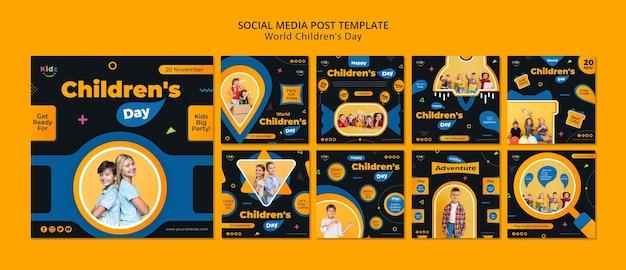 Szablon Postu W Mediach Społecznościowych Na Dzień Dziecka Premium Psd