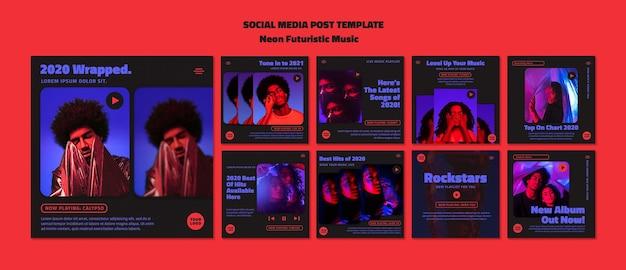 Szablon Postu W Mediach Społecznościowych Neon Futurystycznej Muzyki Premium Psd