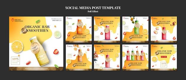 Szablon Postu W Mediach Społecznościowych Organicznych Smoothies Premium Psd
