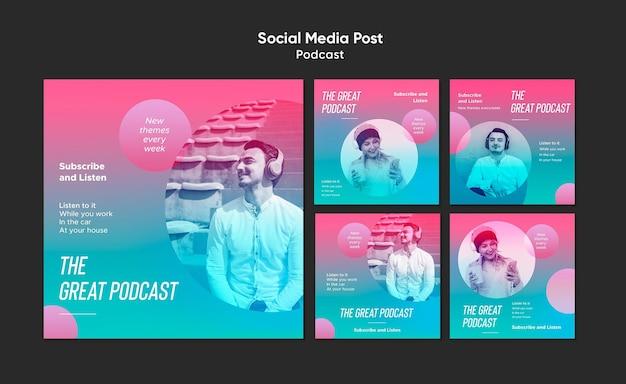 Szablon Postu W Mediach Społecznościowych Podcast Radiowy Premium Psd