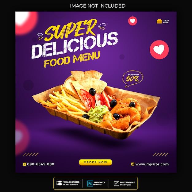 Szablon Postu W Mediach Społecznościowych Pyszne Jedzenie Premium Psd