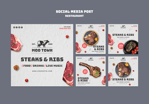 Szablon Postu W Mediach Społecznościowych Restauracji Stek Darmowe Psd