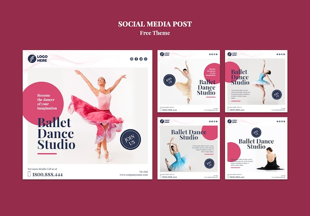 Szablon Postu W Mediach Społecznościowych Studia Tańca Darmowe Psd