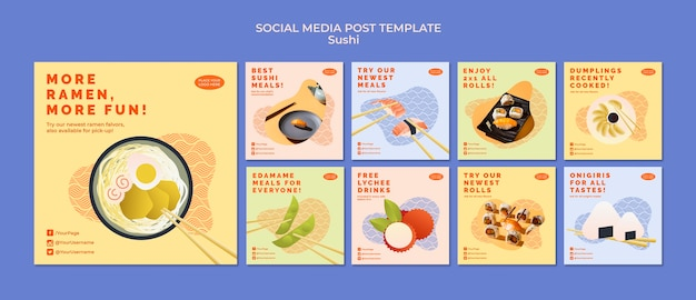 Szablon Postu W Mediach Społecznościowych Sushi Darmowe Psd