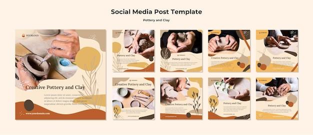 Szablon Postu W Mediach Społecznościowych Z Ceramiki I Gliny Darmowe Psd