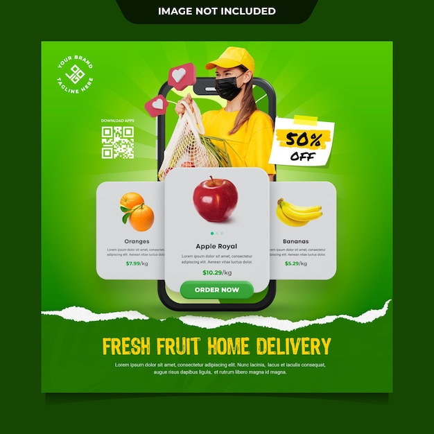 Szablon Postu W Mediach Społecznościowych Z Owocami Premium Psd