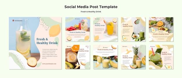 Szablon Postu W Mediach Społecznościowych Z Sokiem Owocowym Darmowe Psd