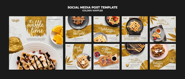 Szablon Postu W Mediach Społecznościowych Złote Gofry Premium Psd