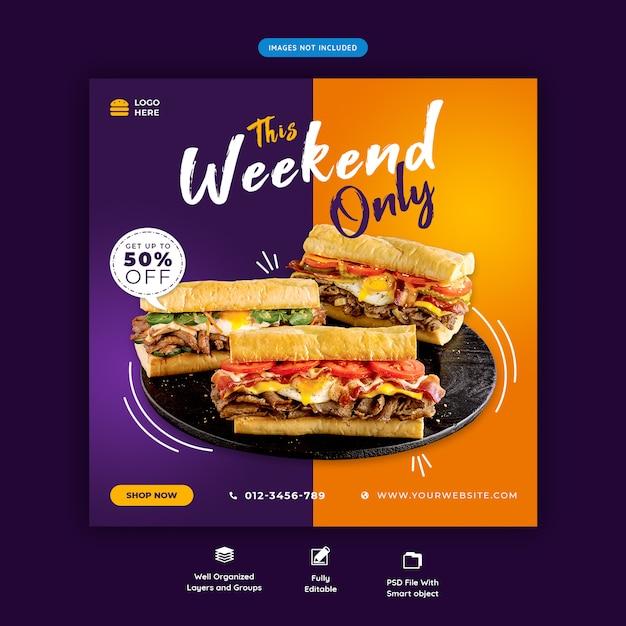 Szablon Postu W Menu Restauracji Lub żywności W Mediach Społecznościowych Premium Psd