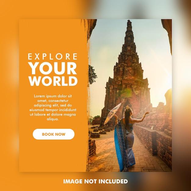 Szablon postu w podróży lub wakacje na instagramie Premium Psd