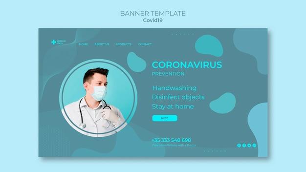 Szablon Poziomy Baner Do Zapobiegania Koronawirusowi Darmowe Psd