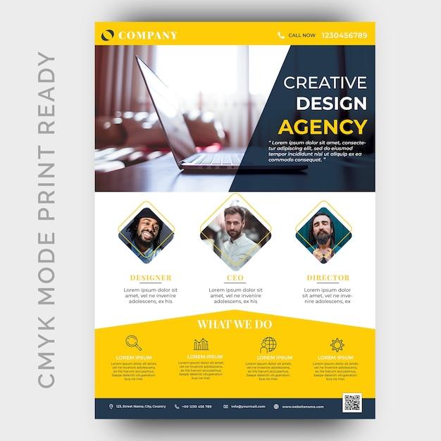 Szablon projektu ulotki biznesu nowoczesnej agencji creative Premium Psd