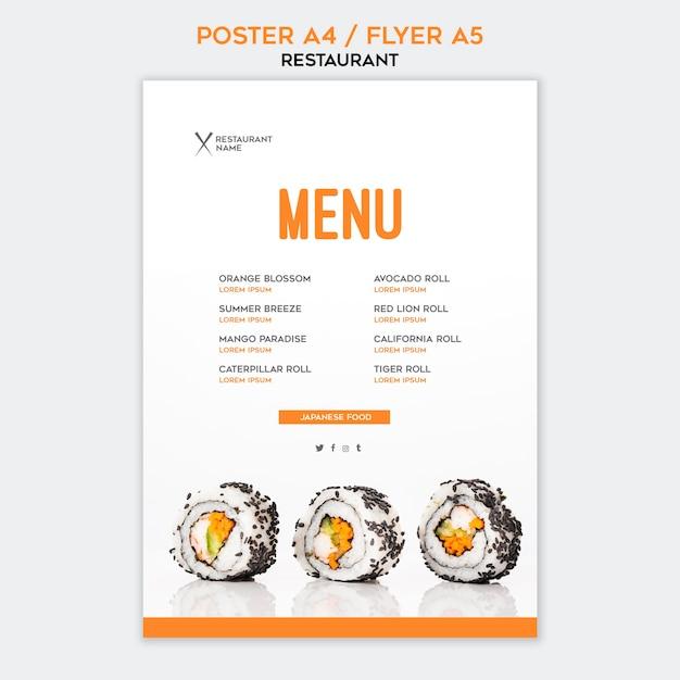 Szablon Restauracji Plakat Sushi Darmowe Psd